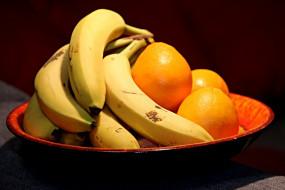 фрукты, натюрморт, бананы, апельсины, еда