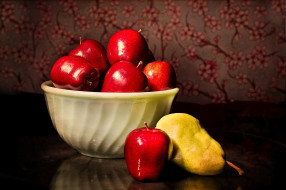 еда, натюрморт, яблоки, груши