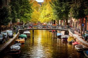 канал, лодки, мост, велосипеды