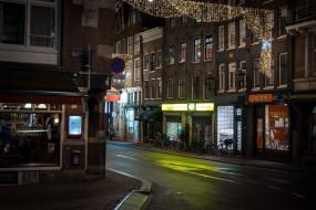 улица, вечер, гирлянда