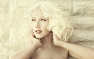 стена, лицо, Кристина Агилера, певица, блондинка