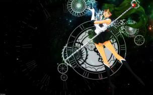 pluto, посох, время, девушка, часы, звезды, воин