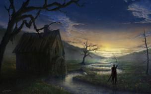 фэнтези, пейзажи, звезды, облака, фэнтази, природа, мужчина, меч, небо, арт, пейзаж