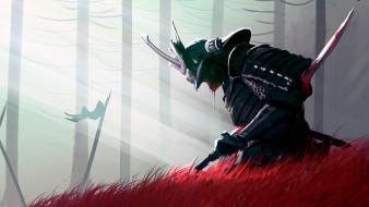 фэнтези, люди, samurai, katana, death, armor, fantasy, weapon, blood, art, helmet, sword, banner, artwork, spatter, digital