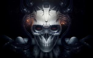 фэнтези, роботы,  киборги,  механизмы, робот, белое, черное, искра, Череп