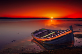 закат, река, лодка