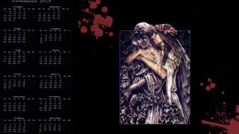 календари, фэнтези, венок, девушка, кровь