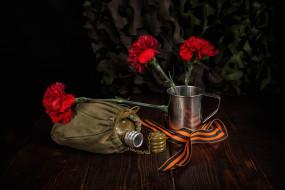 праздничные, день победы, кружка, 9, мая, фляга, день, победы, георгиевская, лента, цветы, гвоздики
