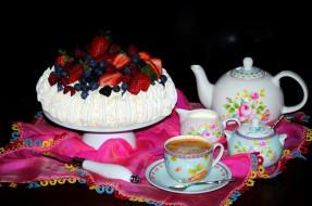 чайник, клубника, фрукты, чашка, кофе, торт, еда