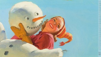 календари, рисованные,  векторная графика, шапка, снеговик, девушка, взгляд, улыбка