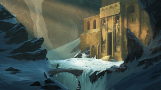 Lost Temple, путник, крепость, горы, мост