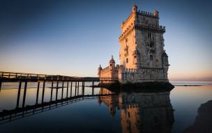 закат, архитектура, мостик, море, португалия, башня сент-винсента, лиссабон
