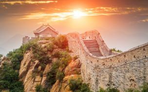 великая китайская стена, закат, достопримечательности, китай, азия