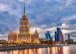 подсветка, россия, гостиница рэдиссон, архитектура, москва, вечер