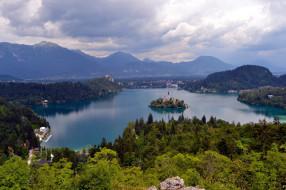 города, блед , словения, церковь, остров, озеро