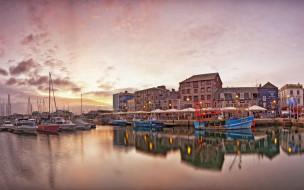 город, вода, лодки, водоем, корабли, здание