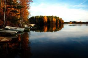 осень, река, лодки, отражение