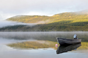 лодка, туман, утро