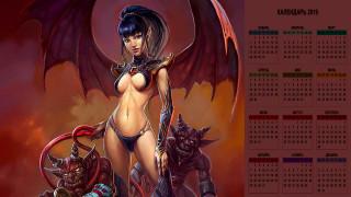 календари, фэнтези, существо, взгляд, женщина, крылья
