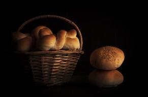 булочки, корзина, хлеб, еда