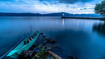 лодка, река, вечер