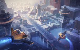 город, детская, самолётик, JAY KIM, Maplestory2 Illustration, арт, зима