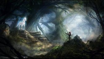 камни, единорог, UNICORN, женщина, лес, зов, встреча