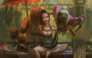 поза, чудовище, рабыня, маски, женщина