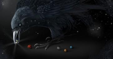 черный, арт, клюв, птица, планеты, ворон