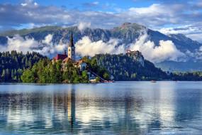 города, блед , словения, туман, озеро, горы