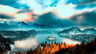 города, блед , словения, горы, остров, озеро