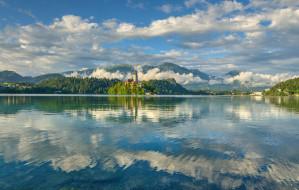 остров, горы, озеро