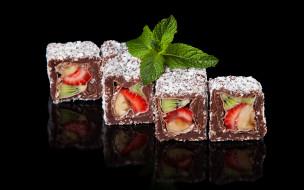 клубника, пирожное, шоколад, chocolate, rolls, сахарная пудра, киви, fruit