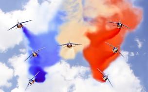 цветной, дым, высший пилотаж, авиашоу, истребитель