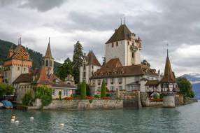 oberhofen castle lake thun, города, замок оберхофен , швейцария, простор