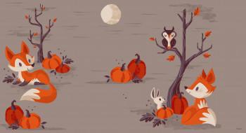 вектор, тыква, лисичка, хэллоуин, арт, луна, детская, ночь, праздник