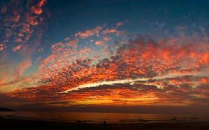 Облака, море, Закат