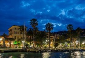 пальмы, огни, набережная, дома, Италия, ночь, Санта-Маргерита-Лигуре
