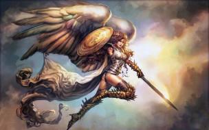cape, shield, artwork, girl, Angel, boots, fantasy art, sword, wings, curly hair, fantasy, armor