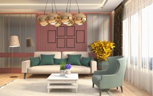 интерьер, гостиная, комната, проект, дизайн, современный, шарики, люстра, ретро, стиль, золотой