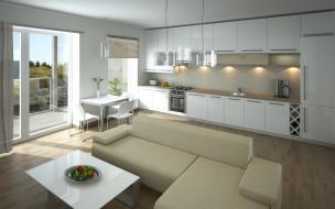 kitchen, living room, design, interior, интерьер, стиль, дизайн, кухня, style