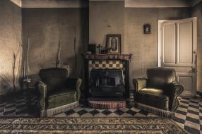 кресло, комната, камин