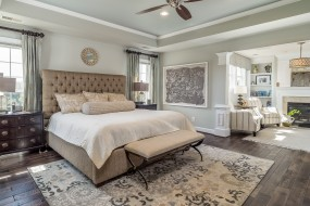 подушки, спальня, кровать, комод