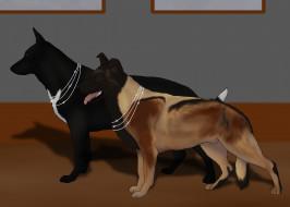 рисованное, животные,  собаки, собаки