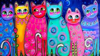 разноцветные коты, рисунок, хвосты, луна, живопись, арт, настроение, весна, глаза, кошки