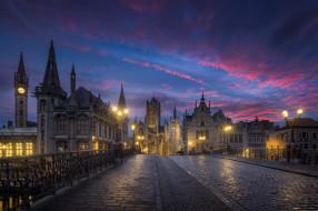 город, Бельгия, архитектура, облака, небо, мостовая, Гент, утро