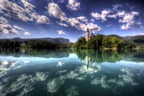 отражение, озеро, остров