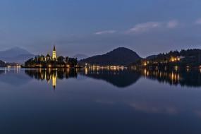 остров, озеро, отражение
