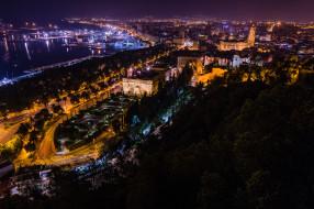 malaga city,  spain, города, - огни ночного города, простор