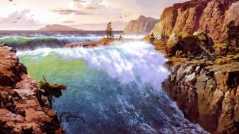 человек, воин, водопад, скалы